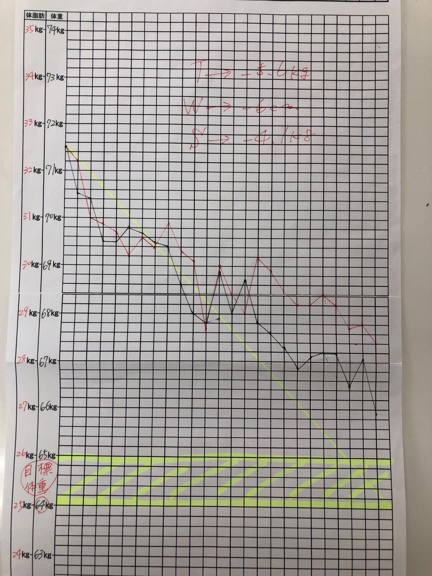 耳つぼダイエットグラフ