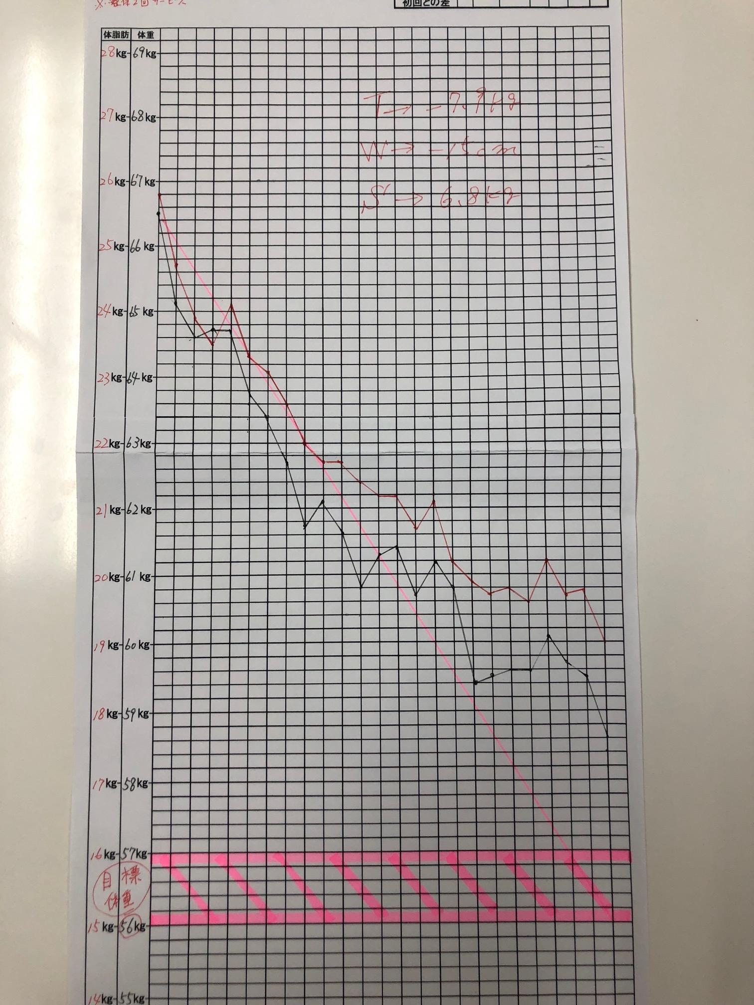 耳つぼダイエット3ヵ月グラフ